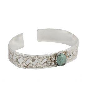 """Bracelet """"Zig-Zag"""" Banditas Créations, en Argent estampé et pierre ( au choix) , fait main, pour homme et femme"""