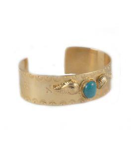 """Large Manchette """"Feuilles"""" SL bijoux Créations, en plaqué Or et Turquoise, fait main, pour homme et femme"""