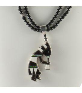 Collier Kokopelli reversible en Argent et pierres, Collection Amérindienne, pour homme et femme