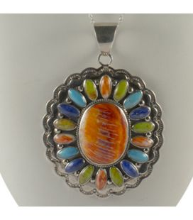 Liquid Silver necklace. Zuni multicolored square pendant, for women and girls.