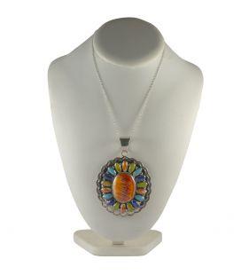 """Pendentif Navajo """"Soleil"""" En Spiney Oyster et pierres sur Argent 925, pour femme"""