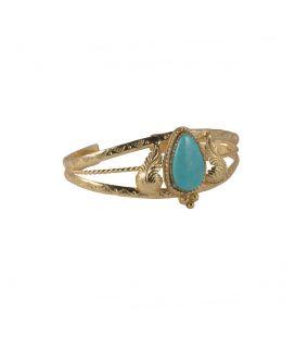 """Bracelet """"3 branches"""" en Vermeil et Turquoise d'Arizona, SL bijoux création originale, pour femme"""