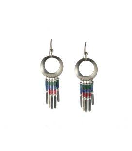 Boucles d' oreilles Navajos, anneaux Argent et tubes de Turquoise, pour femme et enfant