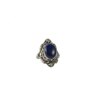 Bague Indienne Femme, superbe Lapis Lazuli monté sur Argent brodé