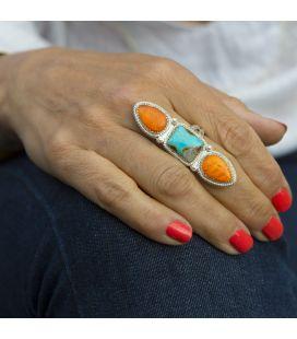 Banditas creations ring, Nacozari Turquoise on stamped Silver, women and men
