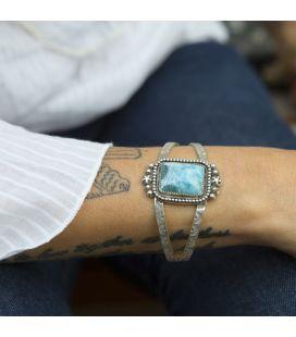 Bracelet Larimar Banditas Créations en Argent et Larimar rectangle, fait main, pour femme