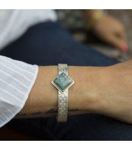 """Bracelet tressé Banditas Créations, """"Larimar"""" des Caraïbes sur Argent 925, fait main, pour femme"""