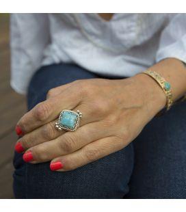 Bague Larimar losange, création originale Banditas en Argent 925, fait main, pour femme