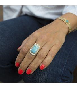 Bague Larimar, création originale Banditas en Argent 925, fait main, pour femme