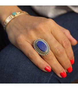 Grosse Bague en Argent et Lapis Lazuli ovale, Collection Inde, pour femme