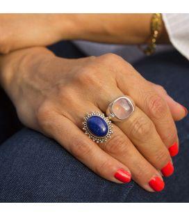 Bague en Argent et Lapis Lazuli ovale, Collection Inde, pour femme et enfant