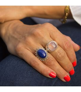 Indian Ring, beautiful Lapis Lazuli on embroidered Silver, for woman