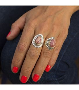 Indian Ring, beautiful rectangular Rhodocrosite on embroidered Silver, for woman