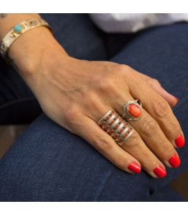 """Zuni"" Needle Point Ring by Shirley Quam, Silver and Coral, for woman"