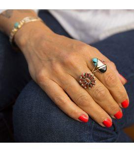 Bague Amérindienne Zuni, Argent et pierres, pour femme et enfant