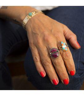 Bague Amérindienne Zuni Femme, Argent, Opales et Turquoises