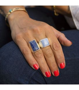 INDIAN RING, SILVER 925 AND BLUE AGATE, FOR WOMEN