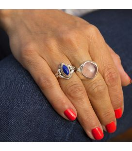 INDIAN RING, SILVER AND PINK QUARTZ, FOR WOMEN