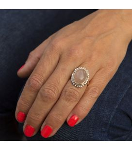 Indian Ring, drop Moonstone on embroidered Silver, for women