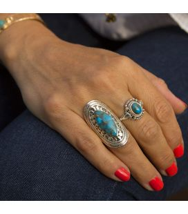 INDIAN RING, SILVER 925 AND BLUE COPPER TURQUOISE, FOR WOMEN
