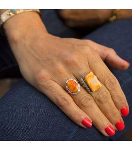 Bague Amérindienne Navajo, Spiney Oyster orange sur Argent travaillé, pièce unique par D.SECATERO, pour femme et enfant.