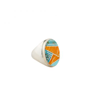 Multicolored Zuni oval Signet Ring, women and men