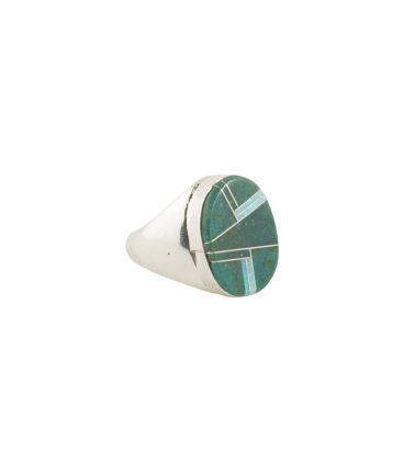 Chevalière Zuni ovale verte, Argent et marqueterie de pierres, pour homme et femme