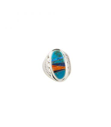 Grosse Chevalière Zuni Multicolore ovale, pour homme et femme