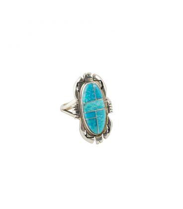 Bague Zuni, Argent et marqueterie de Turquoise, pour femme