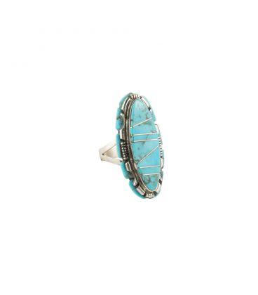 Longue bague Zuni, Argent et marqueterie de Turquoise, pour femme