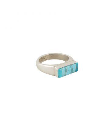 Fine bague Zuni, Argent et marqueterie de Turquoise, pour femme