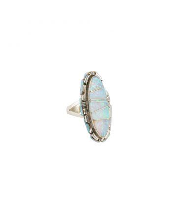 Longue bague Zuni, Argent et marqueterie de Opale, pour femme