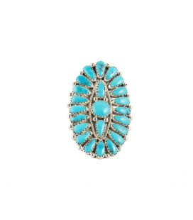 """NATIVE AMERICAN NAVAJO """"FLOWER RING"""" BY JULIANA WILLIAMS, TURQUOISES ON SILVER 925, FOR WOMEN"""