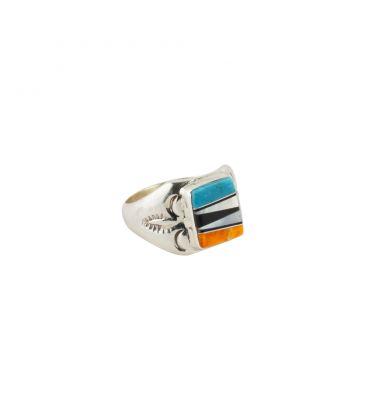 Chevalière Zuni Multicolore rectangle, Argent 925 et marqueterie de pierres, pour homme et femme