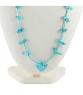 NATIVE AMERICAN NAVAJO FETICHES NECKLACE, TURQUOISES EAGLES AND BEARS, SHELL, MEN AND WOMEN