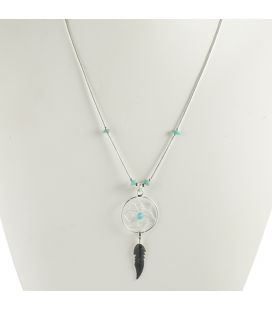"Native American NAVAJO NECKLACE ""LIQUID SILVER"" 2 ROWS, SILVER AND TURQUOISE, FOR WOMAN"