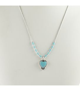 """Liquid Silver"" necklace. Turquoise heart and feathers, for women and girls."