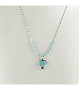 """Collier """"liquid Silver"""", coeur Turquoise, pour femme et enfant"""