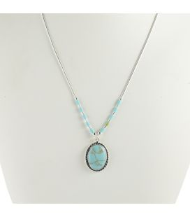 Liquid Silver necklace. Oval Turquoise pendant and Bamboo. for women and girls.