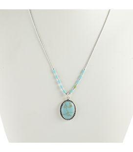 """Collier """"Liquid Silver"""" , pendentif Turquoise, pour femme et enfant ."""