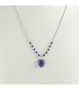 """Collier """"liquid Silver"""", coeur en Lapis Lazuli, pour femme et enfant"""