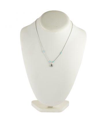 """Collier """"Liquid Silver"""" , pendentif coquillage et tubes Turquoise, pour femme et enfant ."""