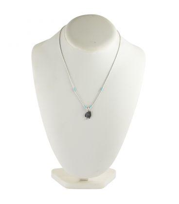 """Collier """"Liquid Silver"""" , pendentif tête d'Indien et tubes Turquoise, pour femme et enfant ."""