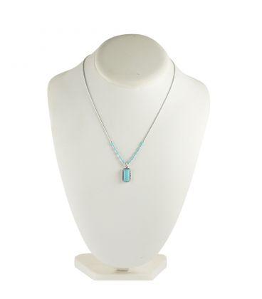 """Collier """"Liquid Silver"""" , pendentif rectangle Turquoise, pour femme et enfant ."""