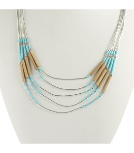 """Collier """"Liquid Silver"""", 5 rangs, Turquoise et Bambou, pour femme et enfant."""