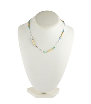 """Collier """"Liquid Silver"""", Argent, Turquoise et Bambou, pour femme et enfant"""