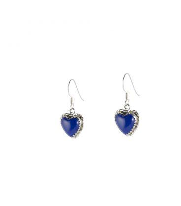 """Boucles d' oreilles Zunis """"coeur"""", Argent et Lapis Lazuli, pour femme et enfant"""