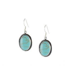Boucles d' oreilles Navajos ovale, Argent et Turquoise, pour femme et enfant