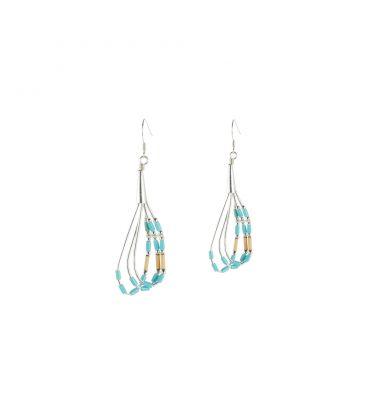 Boucles d' oreilles Liquid Silver, Argent et tubes de Turquoise, pour femme et enfant