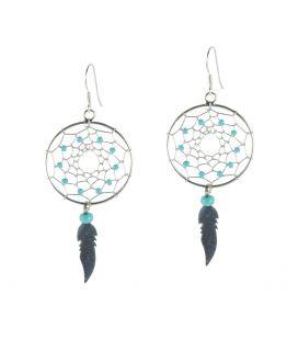 Boucles d' oreilles Navajos, petit Dream catchers Plumes Argent et rocailles, pour femme et enfant